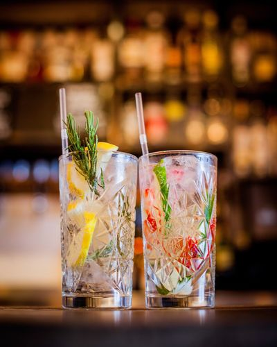Close-Up Of Fancy Rustic Cocktails