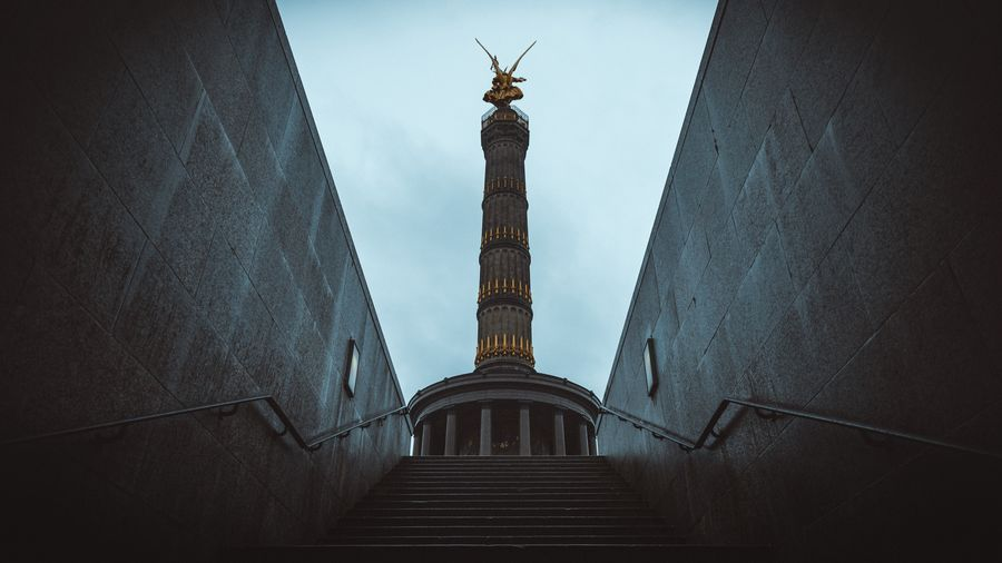 Low angle view of victory column seen from steps
