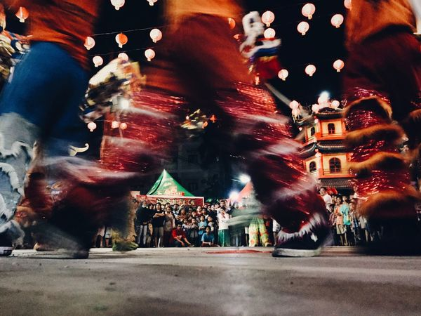 The Red Pants Blurred Motion Illuminated Celebration Night Large Group Of People Motion Travel Destinations Real People Leisure Activity Traditional Festival Built Structure Outdoors Women Men Architecture Crowd Chinese New Year Asian Culture The Photojournalist - 2017 EyeEm Awards