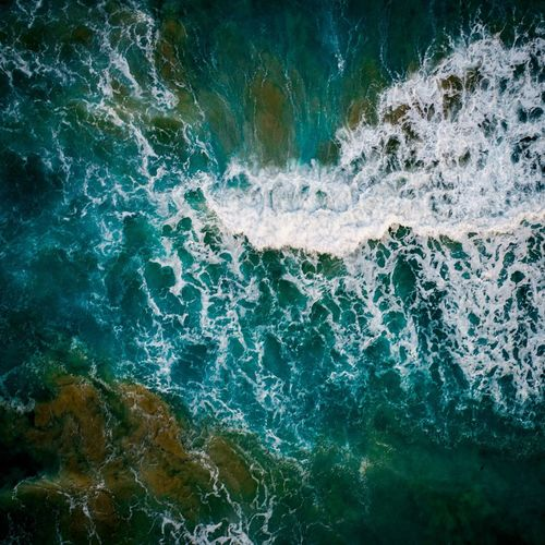 Rough Nulla Drone  Aerial Water Backgrounds Close-up Textured  Rough Surf Wave Crashing Surfer Shore Tide Force Rushing Surface