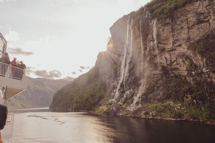 The marvelous seven sisters waterfall over a fjord