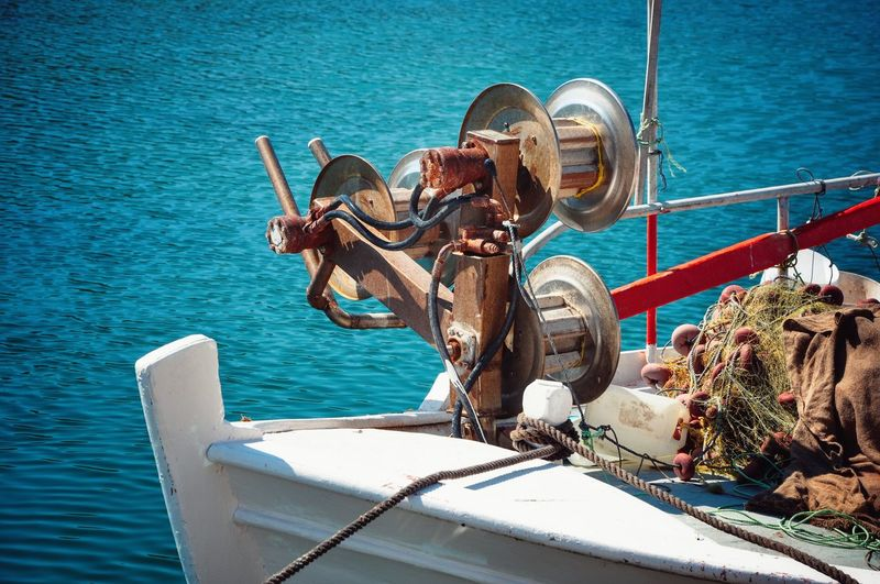 Close-up of fishing equipment on boat