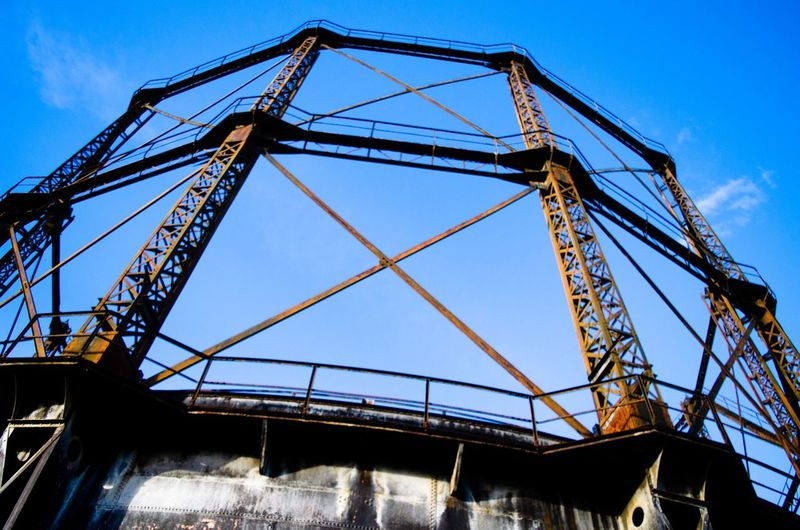 Athens Greece Gazi industrial Low Angle View Sky Architecture Blue Built Structure Metal Nature Machinery No People Crane - Construction Machinery Day Outdoors Industry Transportation Cloud - Sky Construction Industry Travel Girder Industrial