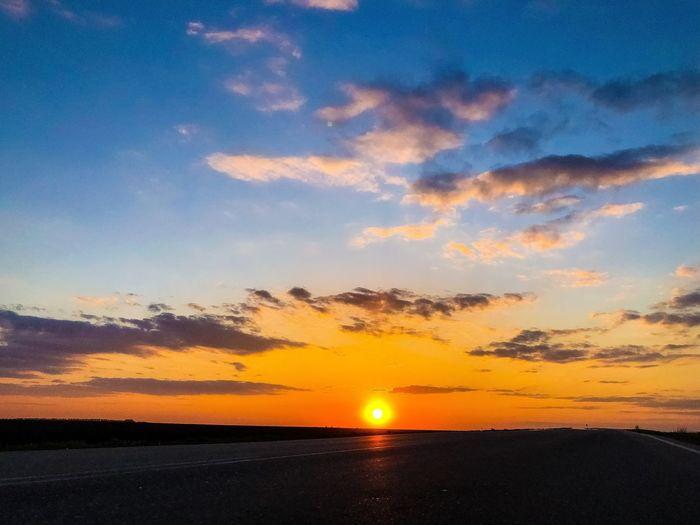 Road Sunset Sky
