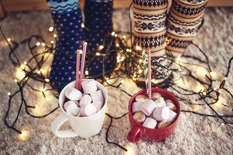 Christmas Christmas Day Christmaslights Coffee Dessert From Above  Marshmallows Break Carpet Christmas Slippers Close Up Cup Feet Floor Glow Hot Chocolate Mug Socks