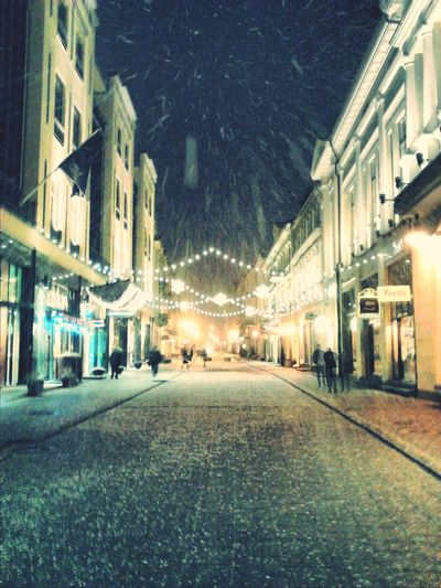 City Architecture Snowing Winter Vilnius in early morning.