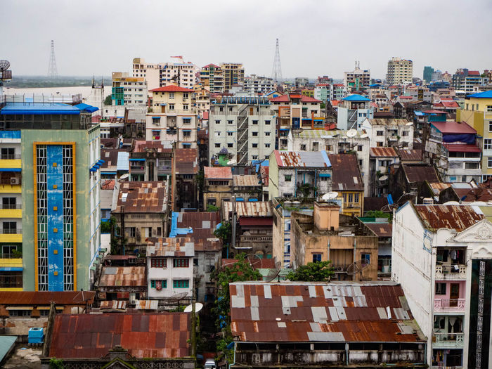 High angle view of city with old buildings in yangon, myanmar