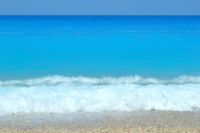 Milos beach in Lefkada Beauty In Nature Blue Coastline Horizon Over Water Color Palette Motion Nature No People Non-urban Scene Ocean Outdoors Power In Nature Remote Rippled Scenics Sea Seascape Shore Sky Splashing Tranquil Scene Tranquility Water Wave