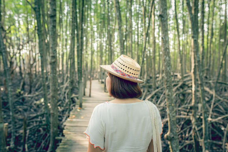 Asian woman on wooden bridge at mangrove forest thung prong thong, rayong province, thailand