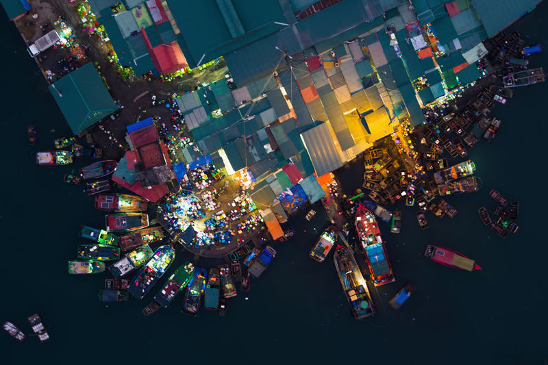 Early morning fish market Bai Tu Long Bay Drone  Market Architecture Building Exterior Celebration Christmas Christmas Decoration City Drone Photography Dronephotography Fish High Angle View Illuminated Multi Colored Night No People Outdoors