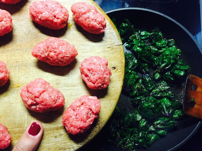 Enjoying Life Cooking Cooking At Home Soulfood Winter Wintertime Homemade Home Sweet Home Wife Meatballs Kale Pan Kitchen Kitchen Utensils From Above  Nails