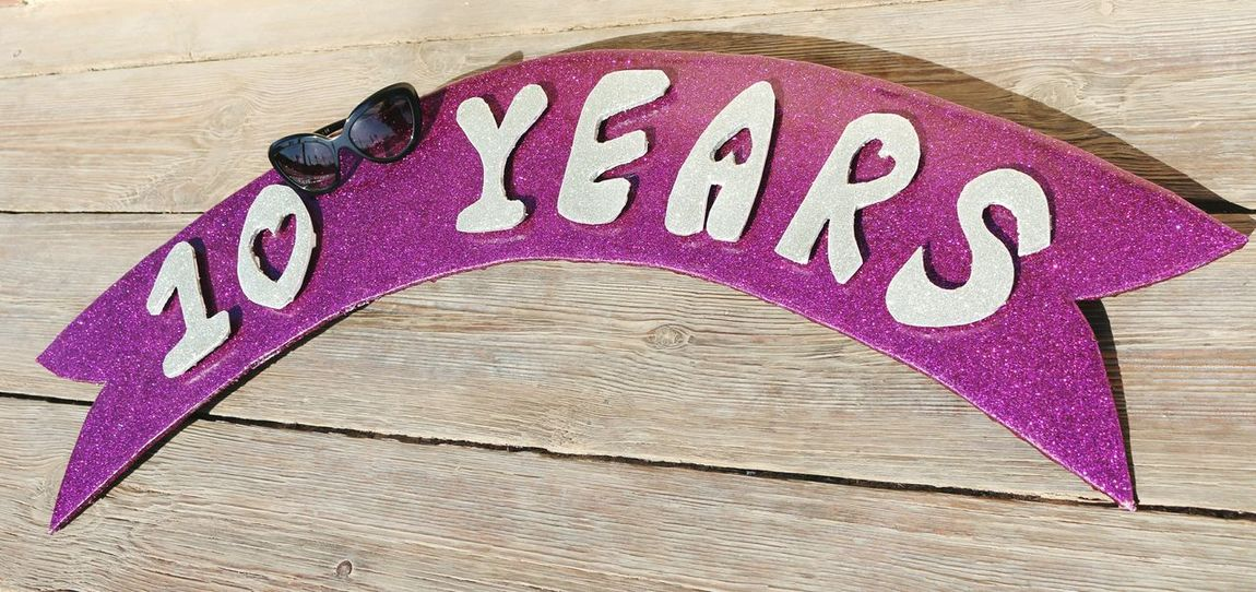Handmade For You Text Communication No People Close-up Day Outdoors 10 Year Anniverary  Anniversary Anniversary Date Purple Glitter Glitter & Sparkle Glittering