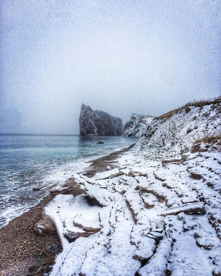 Rocher Percé Seascape Winter Snow Beach Sea Quebec Canada Gaspesie Sedimentary Peace And Quiet