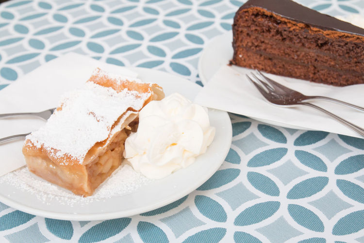 Austrian desserts : Apple strudel and Sachertorte Chocolate cake Apple Strudel Austria Chocolate Cuisine Dessert Desserts Sachertorte Austrian Cake Europe Food Food And Drink Plate Sweet