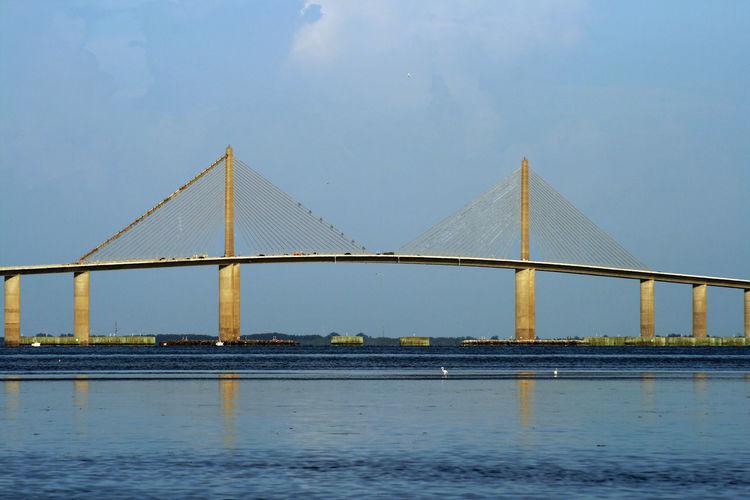 Bridge Bridge - Man Made Structure Built Structure No People Saint Petersburg Florida Scenics Sky St Petersburg Sunshine Skyway Bridge Tampa Bay Travel Destinations Water Waterfront