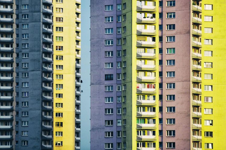 Full frame shot of colorful residential buildings