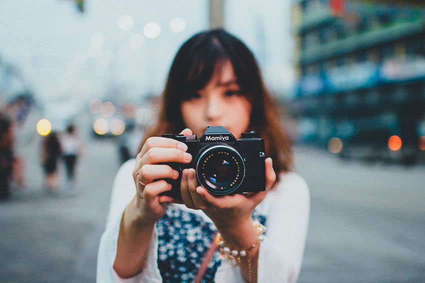 Color Portrait EyeEm Best Edits EyeEm Best Pics EyeEm Best Shots Eyeem Philippines Mamiya Portrait Of A Woman Camera - Photographic Equipment Film Camera Focus On Foreground Photographer Photographing Portrait SLR Camera