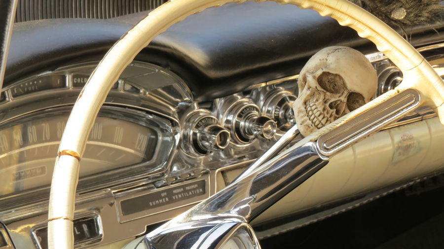 Car Mode Of Transportation Motor Vehicle Land Vehicle Transportation Metal Vintage Car Retro Styled No People Close-up Shiny Day Engine Outdoors Reflection Headlight Technology Steering Wheel Stationary Silver Colored Luxury Chrome
