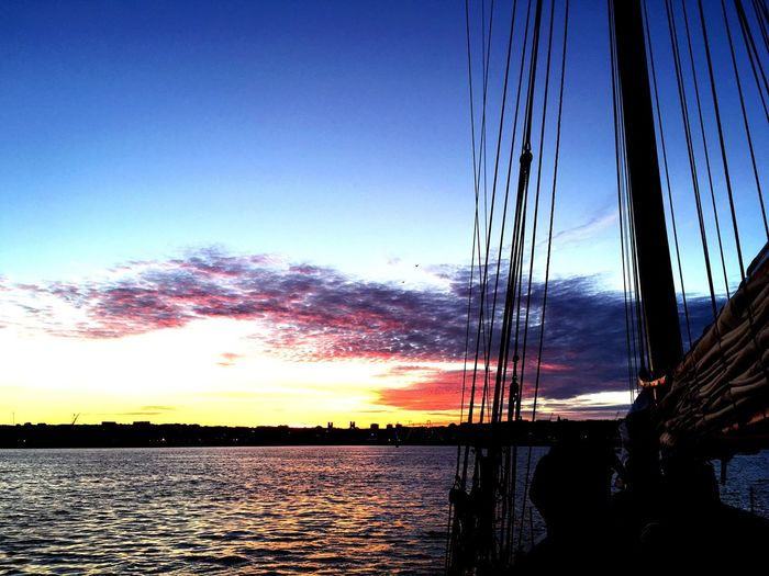 """""""Sunset"""" Water Sunset Tranquil Scene Tranquility Sea Calm Cloud Blue Sky Beauty In Nature Reflection Nature Ocean Solitude Outdoors Majestic Waterfront Remote 14 Juillet 2016 Brest Boat"""