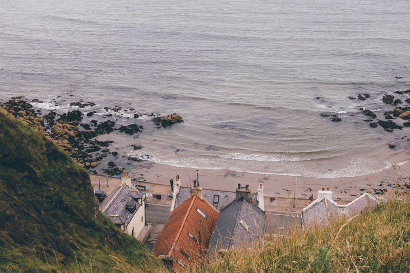 High angle view of cottages by the beach