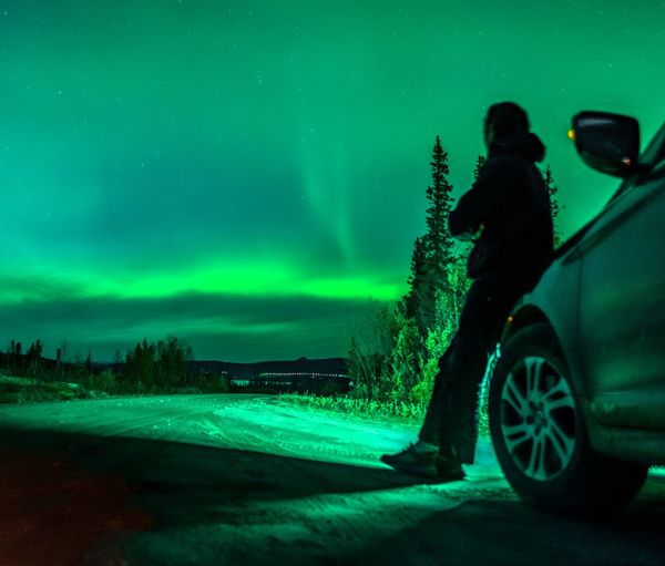man watching aurora leaning on car 4 Wheel Drive Aurora Borealis Aurora Polaris Northern Lights Sweden Swedish Nature EyeEm Selects Full Length Road Motion Sky Side-view Mirror Car Point Of View Vehicle Parking Hiker Windshield Wiper Moving Mode Of Transport
