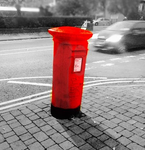 Red Post Box Street Out Of Focus Blur Post Postbox Traffic