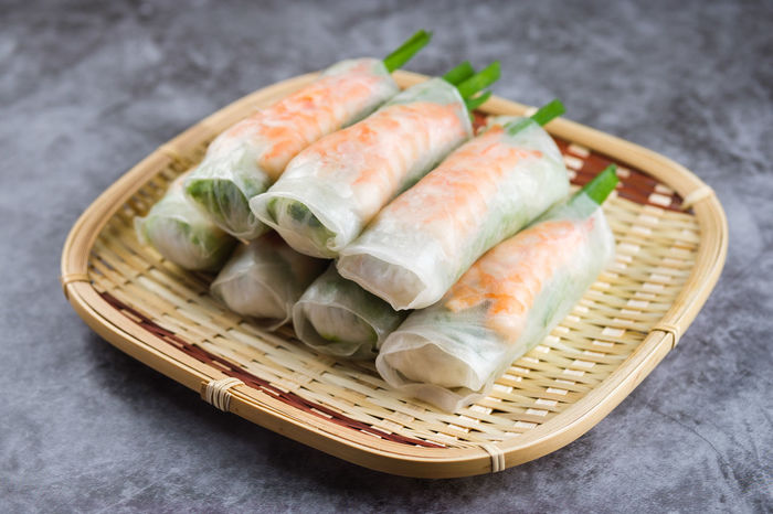 Asian Food Basket Chinese Food Close-up Container Fish Food Food And Drink Freshness Healthy Eating High Angle View Indoors  Japanese Food Ready-to-eat Rice Seafood Still Life Table Vietnamese Rolls Wellbeing Wicker
