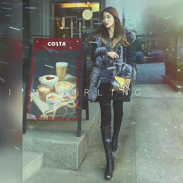 That's Me Beauty Moncler Cold Louis Vuitton Street Style Today's Hot Look Model Taking Photos Hanging Out