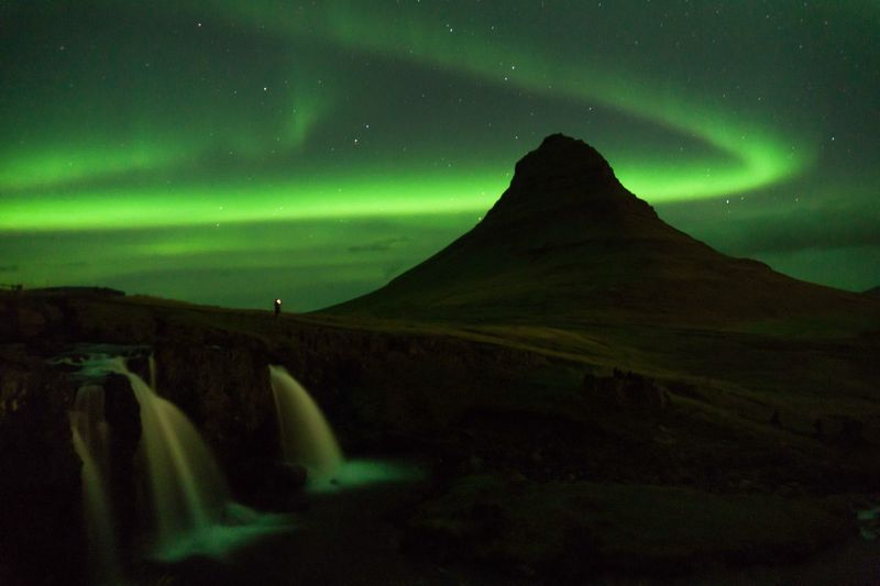 Lost In The Landscape Northern Lights Iceland Mountain Waterfall Nature Landscape Sky