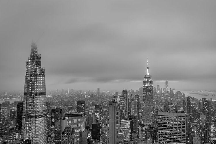 New york skyline from the top of the rock black and white image