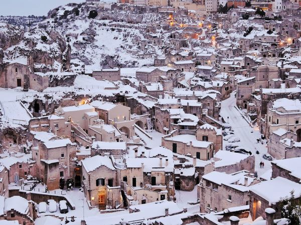 Winter Cold Temperature Snow Weather Built Structure Building Exterior Architecture Day Outdoors No People Nature Beauty In Nature Snowing Sky Close-up Cityscape matera Matera Italy Italia Sassidimatera