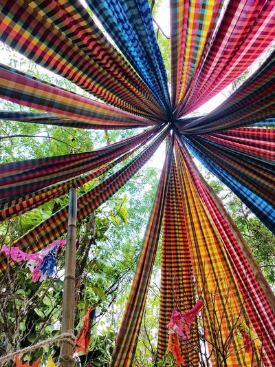 Low angle view of colorful lanterns