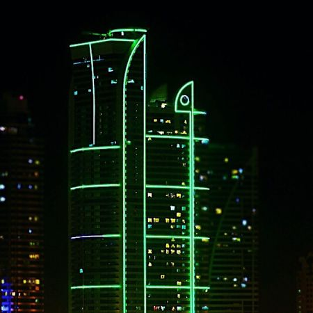Nightvibes Lights Shadow Emerald 30x building neon Corniche almajaz buhairah From my window part 2 :D