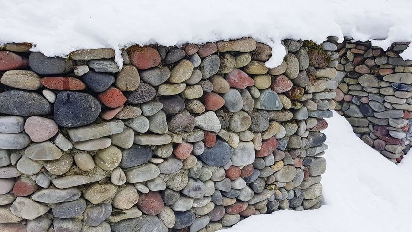 Large Group Of Objects Stack Pebble Beauty In Nature Georgia Winter Snow Texture Pattern