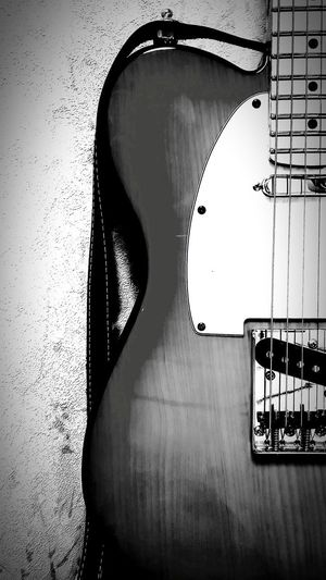 [16.05.08] Telecaster Guitar Music Black And White Enjoying Life Monochrome Black & White Pixlr Fender Creative Light And Shadow Close-up No People Indoors  Rock Sound Of Life