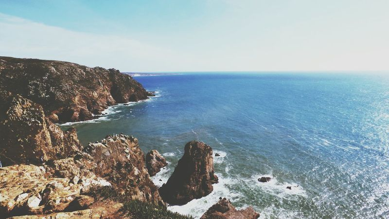 Scenic Lookout Scenic Landscapes Scenic Photograghy Scenic View Horizon Over Water Tranquil Scene Sea Nature Scenics Rock - Object Tranquility Water Beach Beauty In Nature Cliff Day Blue Landscape No People Clear Sky Outdoors Sky Cabo Da Roca, Sintra Cliffside Nature_collection
