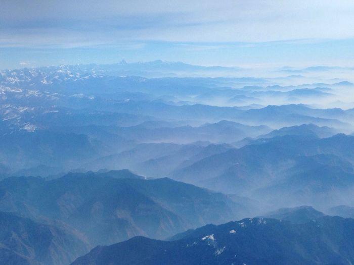 By Plane mountains view Himalay Himalaya