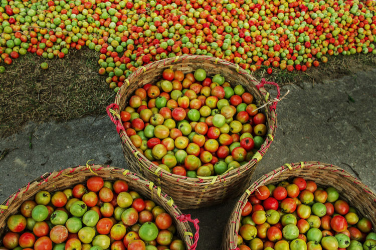 High angle view of fruits in basket at market stall