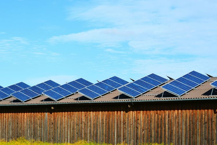 Panoramic view of solar panel against sky