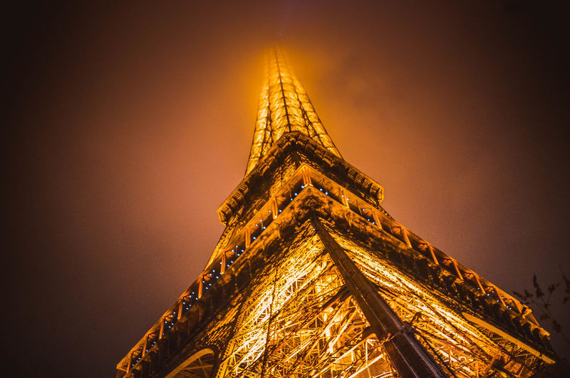 Tower Architecture Built Structure Travel Destinations Tall - High Low Angle View City Tourism No People Sky Building Exterior Travel History Building Illuminated Nature The Past Night Outdoors Spire  Paris Eiffel Tower France Streetphotography Street