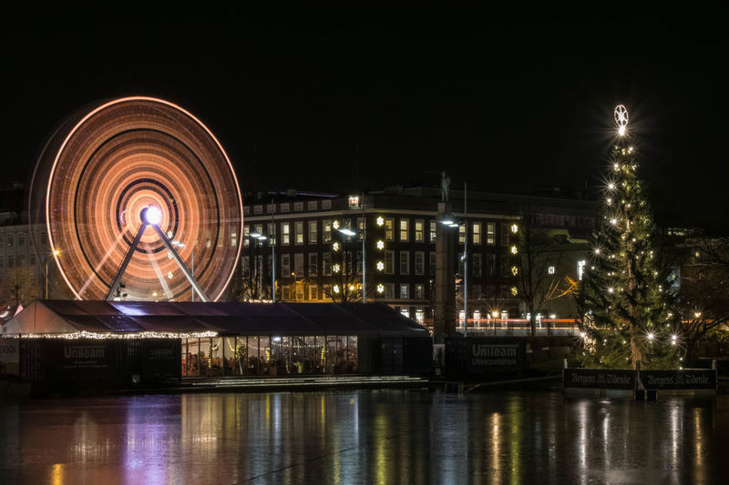 The Ferris Wheel at the temporary Xmas Market in central Bergen, Norway. Ice Tree Architecture Arts Culture And Entertainment Building Exterior Built Structure City Decorations Ferris Wheel Illuminated Long Exposure Night Outdoors Pariserhjul Reflection