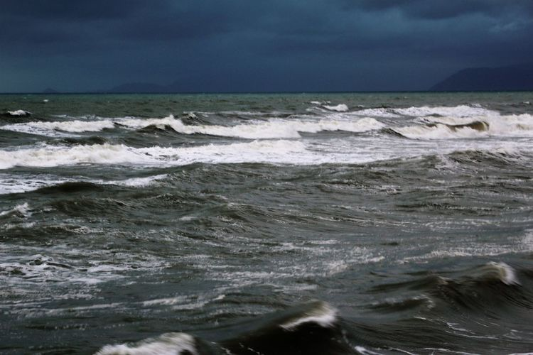 Storm Stormy Weather Beauty In Nature Cloud - Sky Day Horizon Over Water Motion Nature No People Outdoors Power In Nature Scenics Sea Sky Storm Clouds Tranquility Water Waterfront Wave Waves