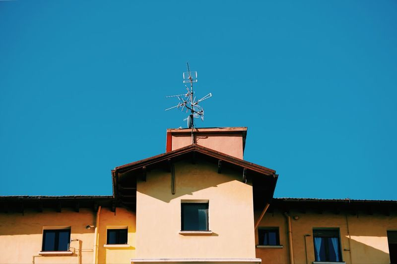 Television aerial on the rooftop