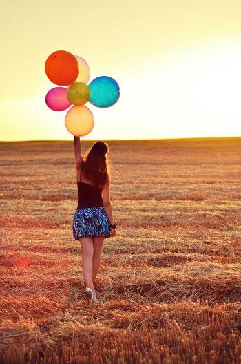 Summer Balloons Girl Field End Of Summer