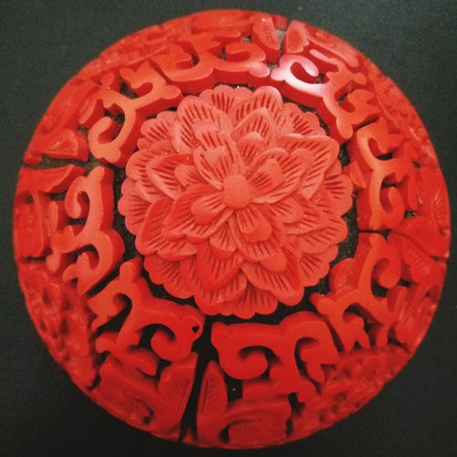 Red, Asian, Cinnabar, Art And Craft Circle Creativity Close-up No People Indoors  Concentric