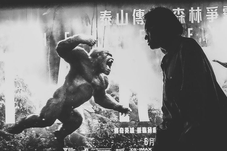 King Kong Fighting Tarzan The Legend Of Tarzan Poster Fun Funny Reflection People Watching The Mix Up From My Point Of View EyeEm Best Edits Black And White The Earth People Disney Summer Cinema Cinema In Your Life