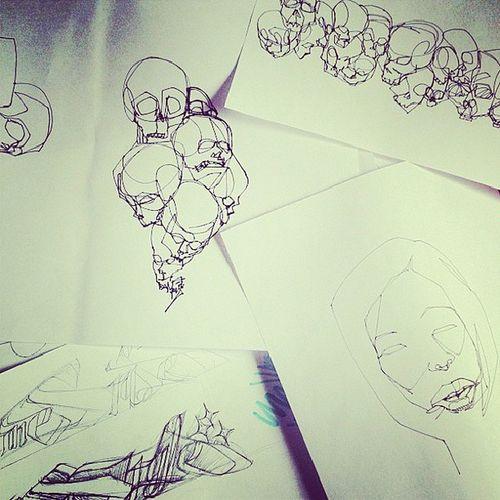 Art Worksinprogress Wip Ink sketch clutter mess igart
