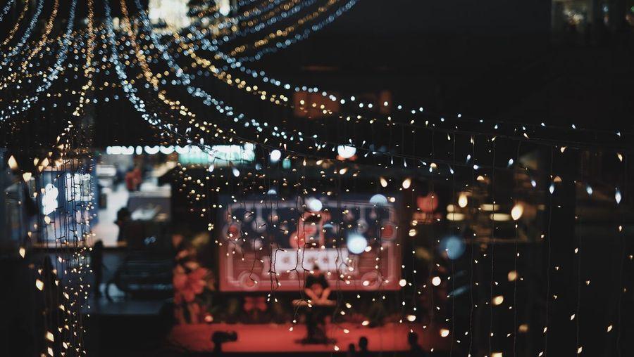 Christmas Illuminated Night Lighting Equipment Architecture Focus On Foreground Crowd Decoration