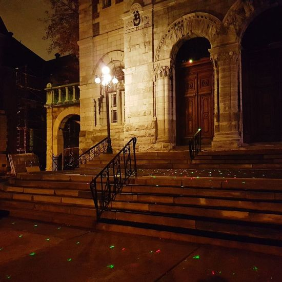 Stairway to hope Architecture Night Twinkling Lights Church Celebration Staircase Steps Steps And Staircases Architecture Railing Arch Built Structure Night EyeEmNewHere