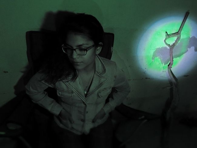 Sad Under Green Light One Young Woman Only Indoors  Mexico Green Light Shadows & Lights Chihuahua, Mexico Why So Sad Lonely Girl Leo Sáenz
